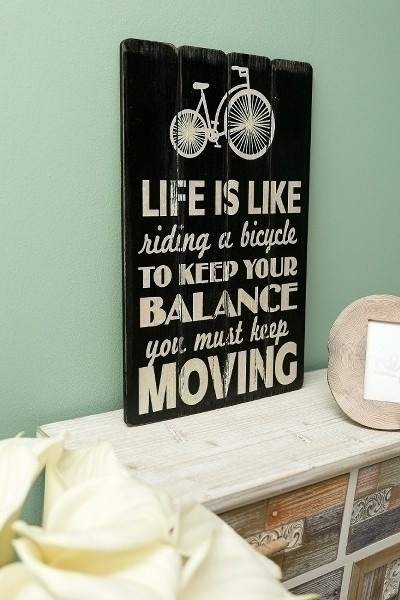 Spruchtafel Life is like riding a bicycle