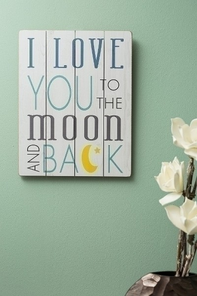 Holzschild Love you to the moon and back